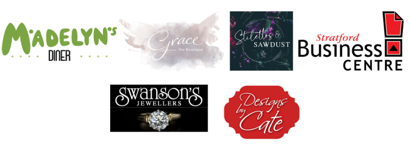 Logos for: Madelyn's Diner, Grace the Boutique, Stelleto's and Sawdust, Stratford Business Centre, Swanson's Jewellery, Designs by Cate